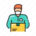 box, courier, delivery, man, mask, quarantine