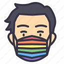 lgbt, pride, celebration, mask, men, male, wearing
