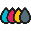 cmyk, colors, creative, design, drop, paint, painting icon