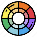 circular, colour, palette, target icon