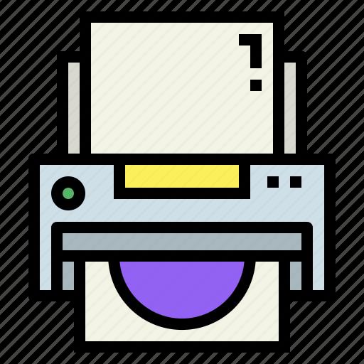 electronics, ink, paper, printer icon