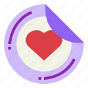 design, heart, printer, sticker icon