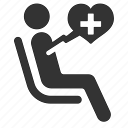 heart disease, medical, pacemaker, patient, priority, public transportation, seat icon