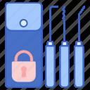 thief, tools, kit, lockpick icon