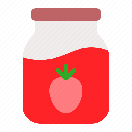 Bottle, container, food, glass, jam, jar, strawberry icon - Download on Iconfinder