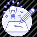 generation, lightbulb, product, drafting, development, idea, description, concept, research, brainstorm icon