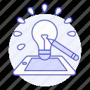 generation, lightbulb, product, development, idea, description, phone, concept icon