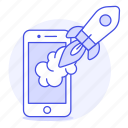 app, development, launch, mobile, product, release, rocket, startup icon