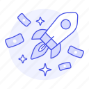 benefit, development, launch, money, product, release, rocket, startup icon
