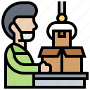 assembly, production, manufacture, process, packaging icon