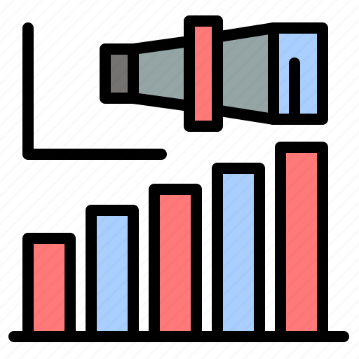 business, long, modern, term, vision icon