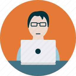 business, glasses, laptop, manager, product icon