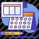 calendar, pencil, productivity, schedule, task