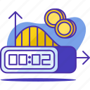 business, clock, coin, money, productivity, timing icon