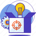 box, productivity, goal, idea, lamp, gear
