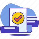 business, done, letters, paper, productivity, task icon