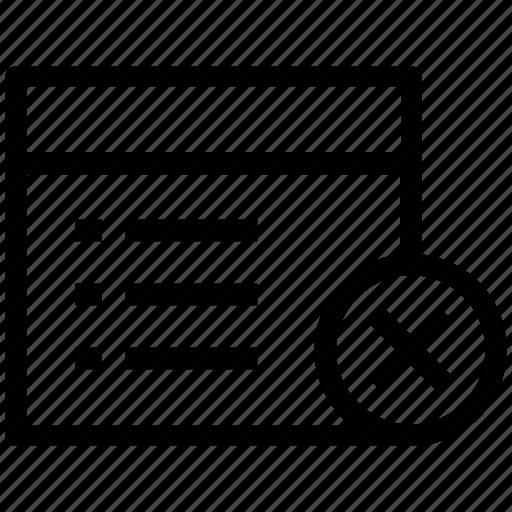agenda, catalog, cross sign, delete page, list, webpage, window icon