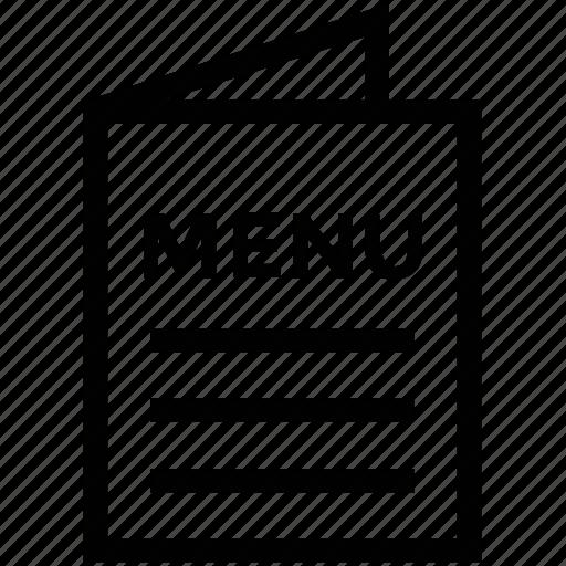 bill of fare, carte du jour, catalog, menu, menu card icon