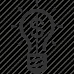 brainstorming, finance, idea, light bulb icon