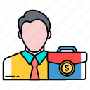 avatar, briefcase, businessman, employee, office, portfolio, profession