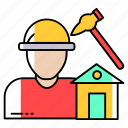 construction, engineer, hammer, house, labour, profession, tools icon