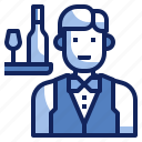 avatar, character, job, man, uniform, waiter icon