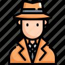 avatar, detective, man, profession, spy, user icon