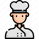 avatar, chef, cook, man, profession, restaurant, user icon