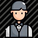 man, waiter, service, avatar, restaurant, user, profession icon