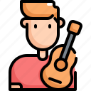 avatar, guitar, man, musician, player, profession, user icon