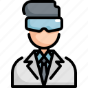 avatar, laboratory, man, profession, science, scientist, user icon