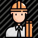 architect, avatar, engineer, man, profession, user icon