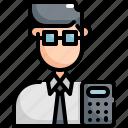 account, accountant, avatar, calculator, man, profession, user icon