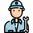 avatar, man, mechanic, profession, repair, service, technician icon