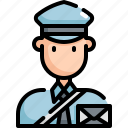 avatar, letter, man, postman, profession, user icon