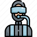 avatar, diver, diving, man, profession, scuba, user icon