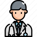 avatar, doctor, health, man, medical, profession, user icon