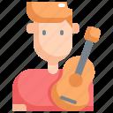 avatar, guitar, man, musician, player, profession, user