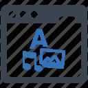 browser, content, development, internet, web icon