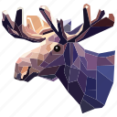 animal, deer, deer horn, horn, linear, linear animal, linear deer icon