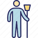 cleaning man, janitor, male cleaner, street sweeper, sweeper