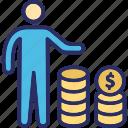 business profit, businessman, businessperson, financier, industrialist icon