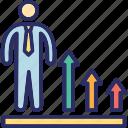 business growth, businessman, businessperson, financier, industrialist icon