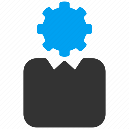 automation, bureaucrat, employee, gear, manager, robot, user settings icon