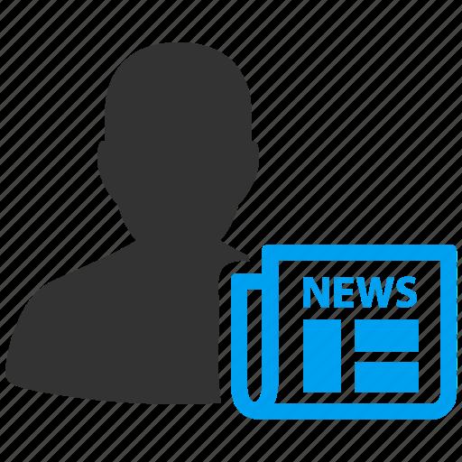 blogger, blogging, news, newsmaker, newspaper, periodist, writer icon