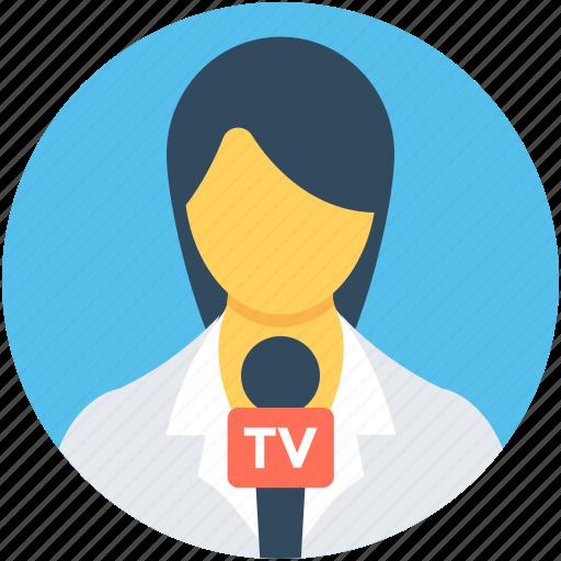 female reporter, journalist, news reporter, people, woman journalist icon