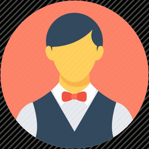 food service, hotel staff, male waiter, waiter, waiting staff icon