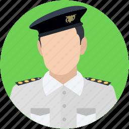 captain, pilot, sergeant, traffic sergeant, traffic warden icon