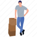 cardboard delivery, logistics, mall worker, packing boy, store worker