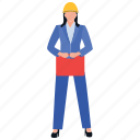 construction officer, construction planner, female employee, female engineer, female worker icon